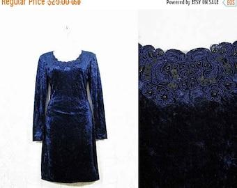 30% OFF FLASH SALE Vtg 90s Midnight Blue Velvet Bodycon Lace + Sequin Party Dress sz S