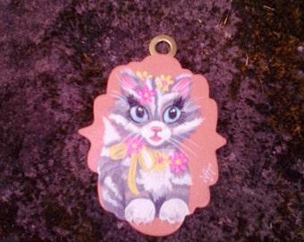 Vintage style miniature silver  tabby kitten painting