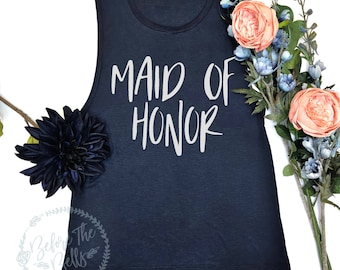 Maid Of Honor Tank Top. Muscle Tank. Muscle Tank Top. Bachelorette Party. Maid Of Honor Shirt. Wedding Party Tank. Bridesmaid Gift.