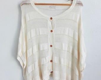 Vintage 90s Beige Knitted Cardigan/ Vintage Japanese/ vintage woman/ cardigan 90s/ knit wear