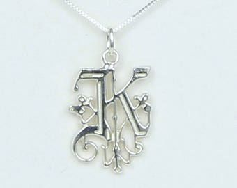 "Solid Sterling Silver Initial Letter "" K "" Necklace - Handcrafted in USA - Monogram initial My Name Jewelry   Birthday Wedding New Name Gift"