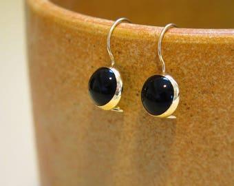 Onyx Gold Earrings, Onyx Drop Earrings, Gold Dangle Earrings, 14K Gold Earrings, Gold Drop Earrings, Gemstone Earrings, Mothers Day Sale