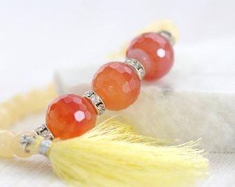 Carnelian & Jade Bracelet, Carnelian Stretch Bracelet Yellow Tassel Bracelet Orange Carnelian Bracelet Yellow Jade Bracelet
