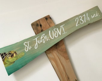 Custom Signpost, Illustrated Sign, arrow sign, arrow signs, mile marker sign, mileage sign, directional sign, hand painted signs, beach sign