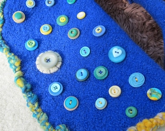 Purse Made from Two Felted Sweaters and Lots of Buttons