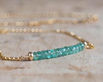 Emerald Necklace in Silver or Gold, Zambian Emerald Bar Necklace, May Birthstone, Real Emerald Jewellery, Emerald Gemstone Jewelry
