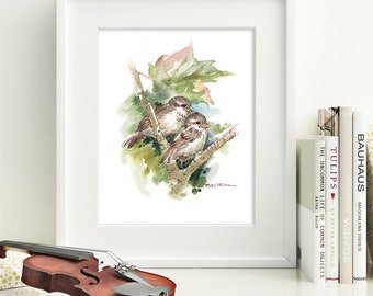 Original 9 in x 9 in Watercolor Painting Spring Young Baby Sparrows by Patricia Christensen