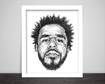 Scribbled J.Cole - Hip Hop Poster