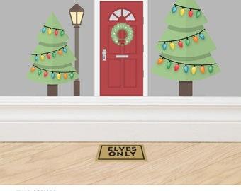 Christmas Elf Door Accessory Set #1 - A set of three decals made from reusable vinyl