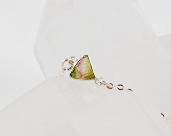 Watermelon Tourmaline Sterling Silver Triangle Necklace