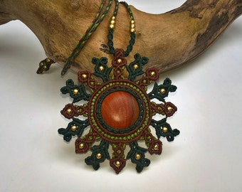 Mandala Necklace with wood cabochon, brown and green, brass beads