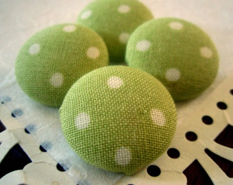 Green and White Polka Dot Fabric-Covered Buttons - You Choose the Size - Sage Green Fun and Mod Covered Buttons - Custom Fabric Button Set