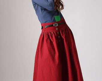 red linen skirt, long skirt, womens maxi skirt, pleated skirt, modern clothing, button skirt, summer skirt, linen skirt, fitted skirt  (876)