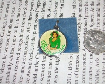 Bridesmaid  Charm Pendent Painted on Silver Vintage 1960 1970 Free Shipping in USA
