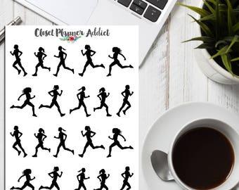 Runner Girls Planner Stickers | Silhouette Girls | Silhouette Stickers | Running Stickers | Runner Stickers | Fitness Stickers (S-251)