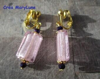 Earrings clips for ears not pierced pink rectangle