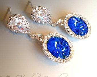 Swarovski Crystal Cobalt Sapphire Bridesmaid Wedding Earrings - SONIA
