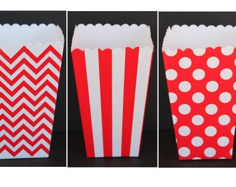 """SALE, 12 Red  Popcorn Boxes- Treat Boxes - Party, Birthday and more """"Same Day Shipping"""""""