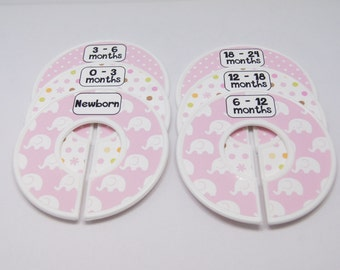 Custom Baby Closet Dividers Organizers Pink White Elephants Baby Girl Nursery Shower Gift Clothes Dividers Assembled