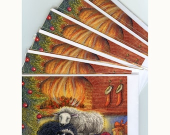 6 x Border Collie dog Christmas greeting cards ewe sheep lamb fire from Susan Alison watercolour painting