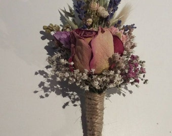 Beautiful ROSE Bespoke Wedding Buttonholes. Made from dried NATURAL flowers and grasses for a rustic, vintage or country feel. Boutonniere