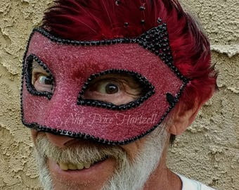 Red Mask - red sparkle with black rhinestones