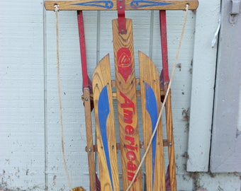 Old Wooden Vintage Solid Wood American Snow Sled Winter Cabin Metal