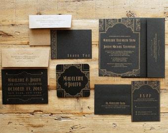 wedding letterpress invitation art deco