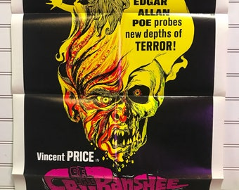 """Original One-Sheet Movie Poster """"The Cry of the Banshee"""" Edgar Allen Poe Story Vincent Price Horror Film"""