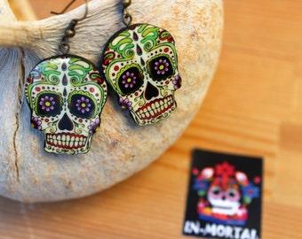 Spring Earrings/Sugar Skulls Earrings/Flower Earrings/ Cinco de Mayo Earrings/Calaveras Earrings/ Mexican Dia de Muertos Earrings