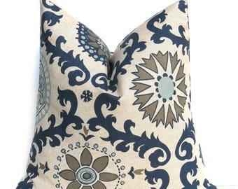 15% Off Sale Blue Tan Pillow. Decorative Throw Pillows. Blue Gray. Suzani. ONE 24x24 Printed Fabric both sides. Dark Blue Cream  Cushion Cov