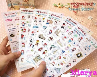 Travel Sticker Set - Diary Sticker - Deco Sticker - Korean Sticker - 6 sheets