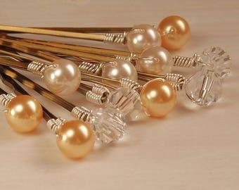 Or et Ivoire perles, épingles à cheveux, épingles à cheveux mariée, ensemble de 12 Swarovski Perle & épingles à cheveux cristal Bronze, les cheveux, l'ensemble crème d'or de mariage