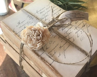 French Script, Unbound Paris Decor, French Country Decor, Uncovered, Rustic Wedding, Shabby Chic, Old Rustic Books, French Country,Farmhouse