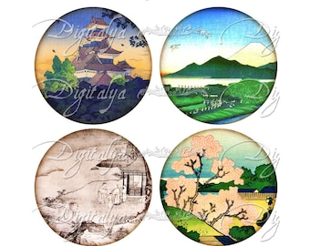 ASIAN LANDSCAPE (2) Digital Collage Sheet - Circles 2.5 inch 63mm for Pocket Mirror - Instant Download - Buy 3 Get 1 Extra Free