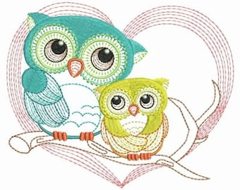 Cute Owls Baby Mother Machine Embroidery Designs Instant Download 4x4 5x5 6x6 hoop APE2061-008