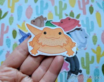Chibi Bearded Dragon Stickers and Magnets