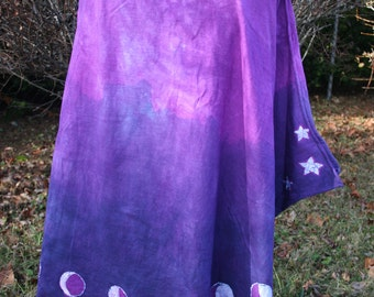 Purple Moon Phases Batik Skirt - Purple & White - Women's Size Large - Hand Dyed - Original Art - Cotton