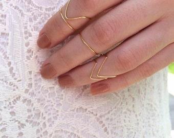 5 midi rings silver, rose gold midi ring set, chevron midi ring set, boho rings midi set of 5 gold plated midi rings, triangle midi, knuckle