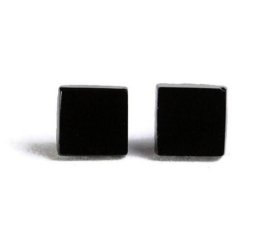 earrings - Petite black square hypoallergenic stud earrings - Geometric Jewelry (604)