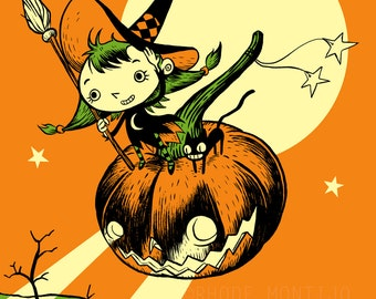 "Lil Witch 12"" x 18"" Signed Halloween Art Print by Rhode Montijo"
