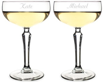 Personalized Coupe Style Champagne Wedding Toasting Glasses