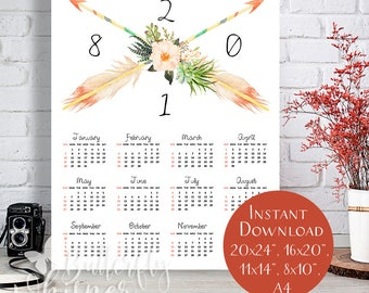 Dowloadable 2018 Large Yearly Wall Calendar, Boho printable calendar, Beautiful bohemian art calendar with arrows for the wall or desk