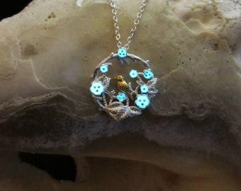 Bird and Flower silver necklace glow in the dark