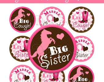 Cowgirl Sisters Bottle Cap Images 1 Inch Circles Digital JPG - Instant Download - BC1029