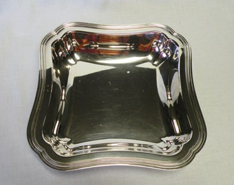 Silverplate Square Bowl - Silverplate Serving Dish - Wedding Decor, Home Decor, Holiday Server, Dining Room Accessory