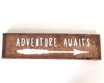 Adventure awaits with arrow wooden farmhouse style sign  Ready to ship wooden nursery room sign.  Baby shower gift.  New baby gift.