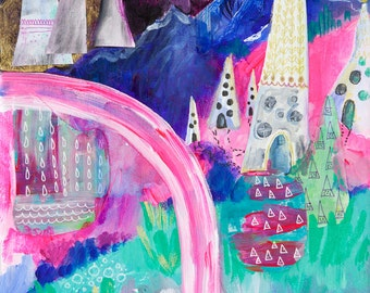 Impression d'Art abstrait, Mixed Media Art, paysage abstrait, Hipster Wall Art, décoration moderne, oeuvre de Boho, Wanderlust imprimer