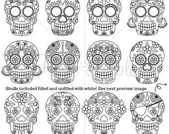 Day of the Dead Skull Clipart Clip Art, Sugar Skulls Digital Stamps Clipart Clip Art Vectors - Commercial and Personal Use