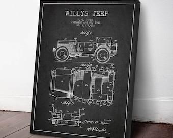 1942 Willys Jeep Patent Canvas Print, Jeep print, Military Jeep, Patent Art, Patent Decor, Wall Art, Home Decor, Gift Idea, TR11C